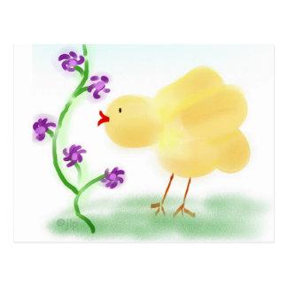 Polluelo amarillo tarjeta postal