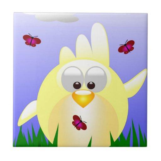 Polluelo amistoso de Pascua que agita Azulejo