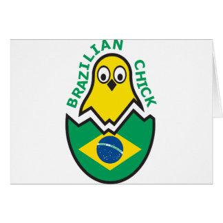 Polluelo brasileño tarjeta de felicitación