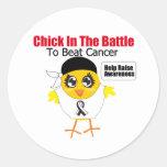 Polluelo carcinoide del cáncer en la batalla pegatina redonda