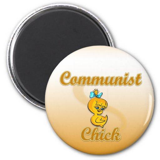Polluelo comunista imán redondo 5 cm