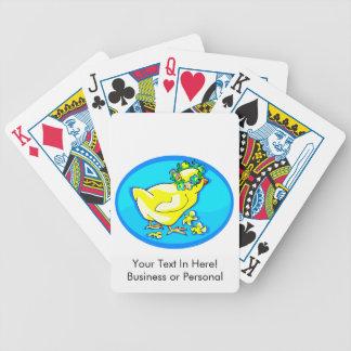 polluelo con óvalo azul de la corona de la flor baraja cartas de poker