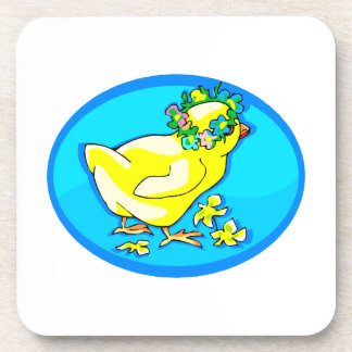polluelo con óvalo azul de la corona de la flor posavasos de bebidas