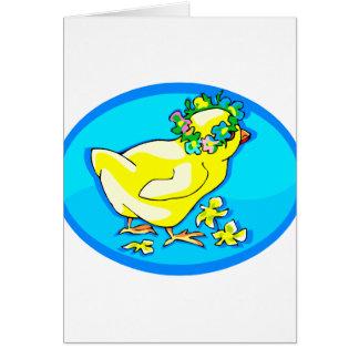 polluelo con óvalo azul de la corona de la flor tarjeta pequeña