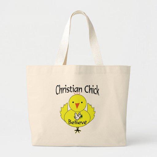 Polluelo cristiano bolsas lienzo