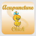 Polluelo de la acupuntura pegatina cuadrada