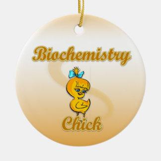 Polluelo de la bioquímica adorno navideño redondo de cerámica