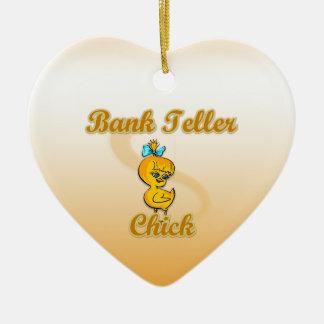 Polluelo de la caja de banco adorno navideño de cerámica en forma de corazón