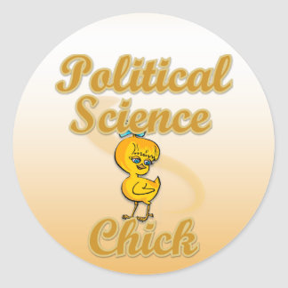 Polluelo de la ciencia política pegatina redonda