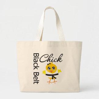 Polluelo de la correa negra bolsa tela grande