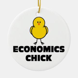 Polluelo de la economía adorno navideño redondo de cerámica