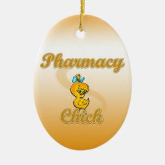 Polluelo de la farmacia adorno navideño ovalado de cerámica