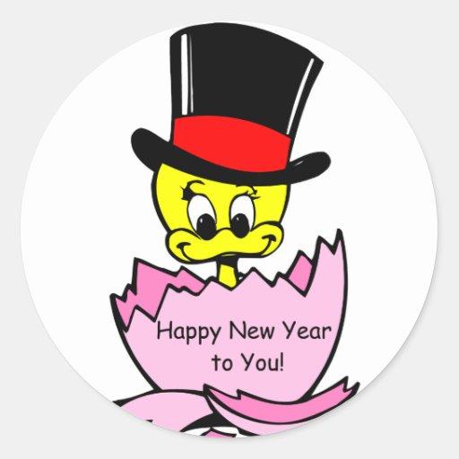 Polluelo de la Feliz Año Nuevo Etiquetas Redondas