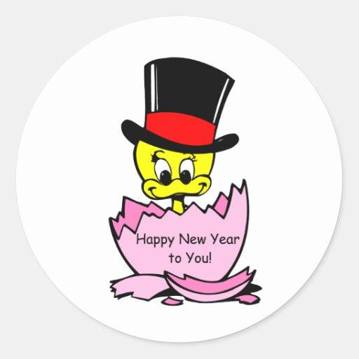 Polluelo de la Feliz Año Nuevo Pegatina Redonda