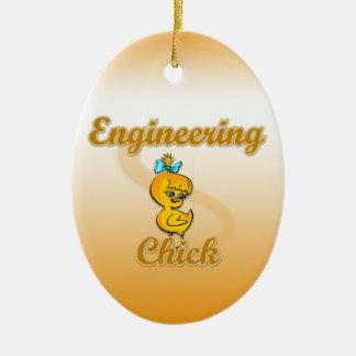Polluelo de la ingeniería adorno navideño ovalado de cerámica