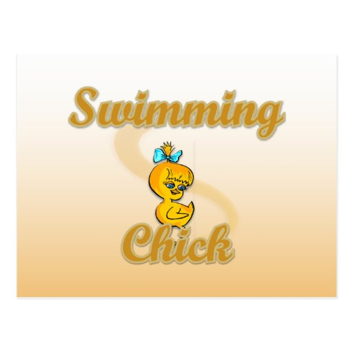 Polluelo de la natación tarjeta postal
