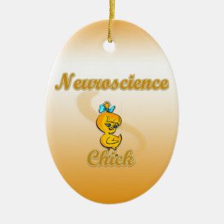 Polluelo de la neurología adorno navideño ovalado de cerámica
