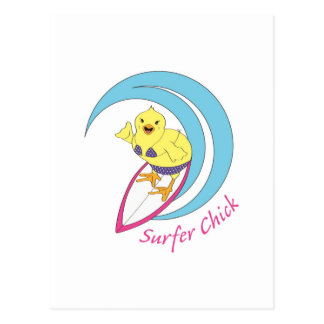 Polluelo de la persona que practica surf tarjeta postal
