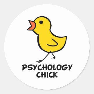 Polluelo de la psicología etiqueta redonda