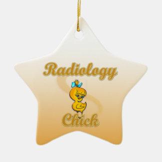 Polluelo de la radiología adorno navideño de cerámica en forma de estrella