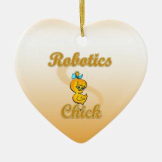Polluelo de la robótica adorno navideño de cerámica en forma de corazón