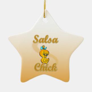 Polluelo de la salsa adorno navideño de cerámica en forma de estrella