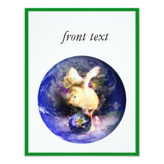 """Polluelo de la tierra (frontera de w/Green) Invitación 4.25"""" X 5.5"""""""