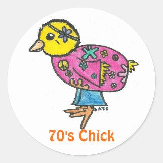 polluelo de los años 70 pegatina redonda