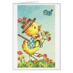 ¡Polluelo de Pascua con el Bluebird! Tarjeta de pa