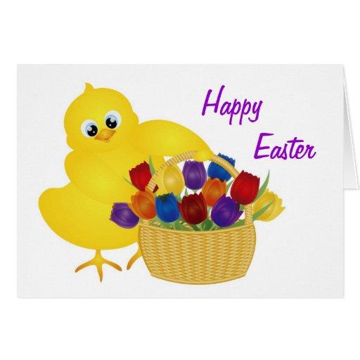 Polluelo de Pascua con la cesta de tarjeta de los