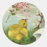 Polluelo de Pascua del vintage con las flores Etiquetas Redondas