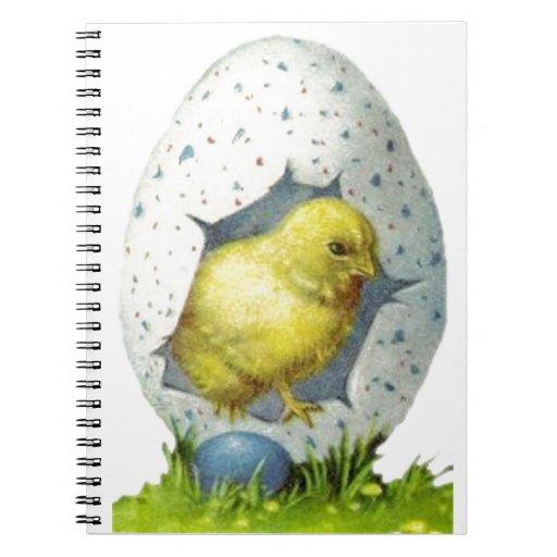 Polluelo de Pascua del vintage y huevo de Pascua Libros De Apuntes