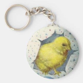 Polluelo de Pascua del vintage y huevo de Pascua Llavero Redondo Tipo Pin