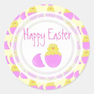 Polluelo de Pascua: Pegatinas felices de Pascua Pegatina Redonda
