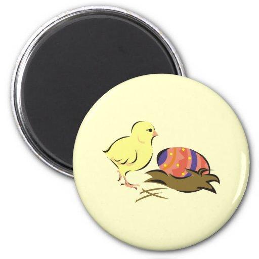 Polluelo de Pascua y huevo pintado Imán Redondo 5 Cm