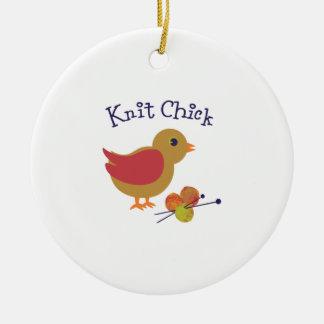 Polluelo de punto adorno navideño redondo de cerámica