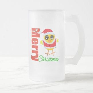 Polluelo de Santa de las Felices Navidad Taza Cristal Mate