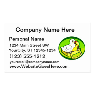 polluelo del anadón en parte posterior del verde d tarjetas de visita