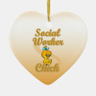 Polluelo del asistente social adorno navideño de cerámica en forma de corazón