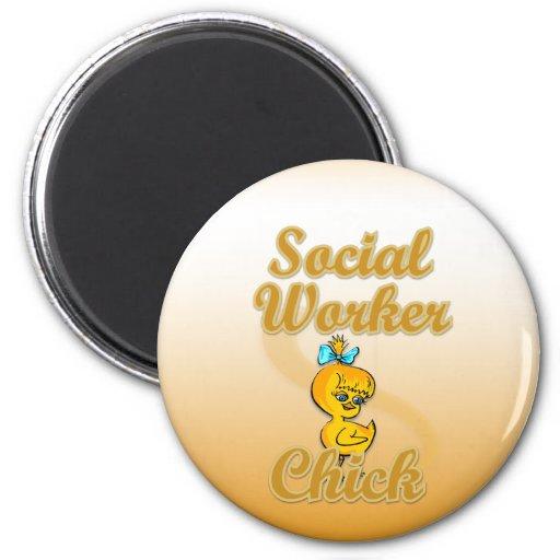 Polluelo del asistente social iman de nevera