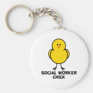 Polluelo del asistente social llaveros personalizados