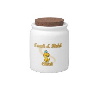 Polluelo del atletismo jarra para caramelo