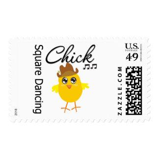 Polluelo del baile cuadrado timbres postales