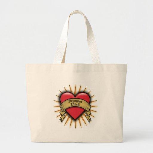 Polluelo del batería del corazón del tatuaje bolsas de mano