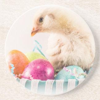 Polluelo del bebé en la cesta de Pascua Posavaso Para Bebida