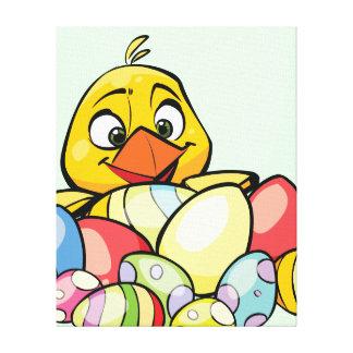 Polluelo del bebé y huevos de Pascua lindos Impresiones De Lienzo