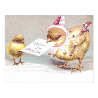 Polluelo del bufón con el vintage Pascua de Tarjeta Postal