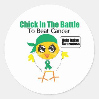 Polluelo del cáncer de hígado en la batalla para etiquetas redondas
