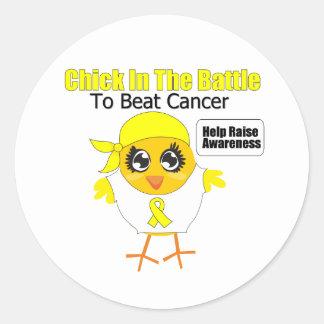 Polluelo del cáncer de vejiga en la batalla para b etiqueta redonda