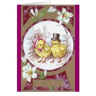 Polluelo del chica polluelo del muchacho y lirios felicitación